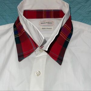 Alexander McQueen Dual Collar White & Plaid Shirt